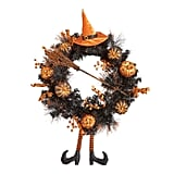Halloween Witch Hat and Legs Wreath