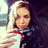 Hilary Rhoda clutched her coffee during an early-morning ride to the set. Source: Instagram user hilaryhrhoda
