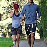 Natalie Portman went for a jog with Benjamin Millepied.