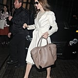 A Taupe Leather Tote Is the Perfect Balance to a Light Coat