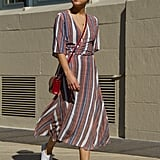 With a Striped Wrap Dress