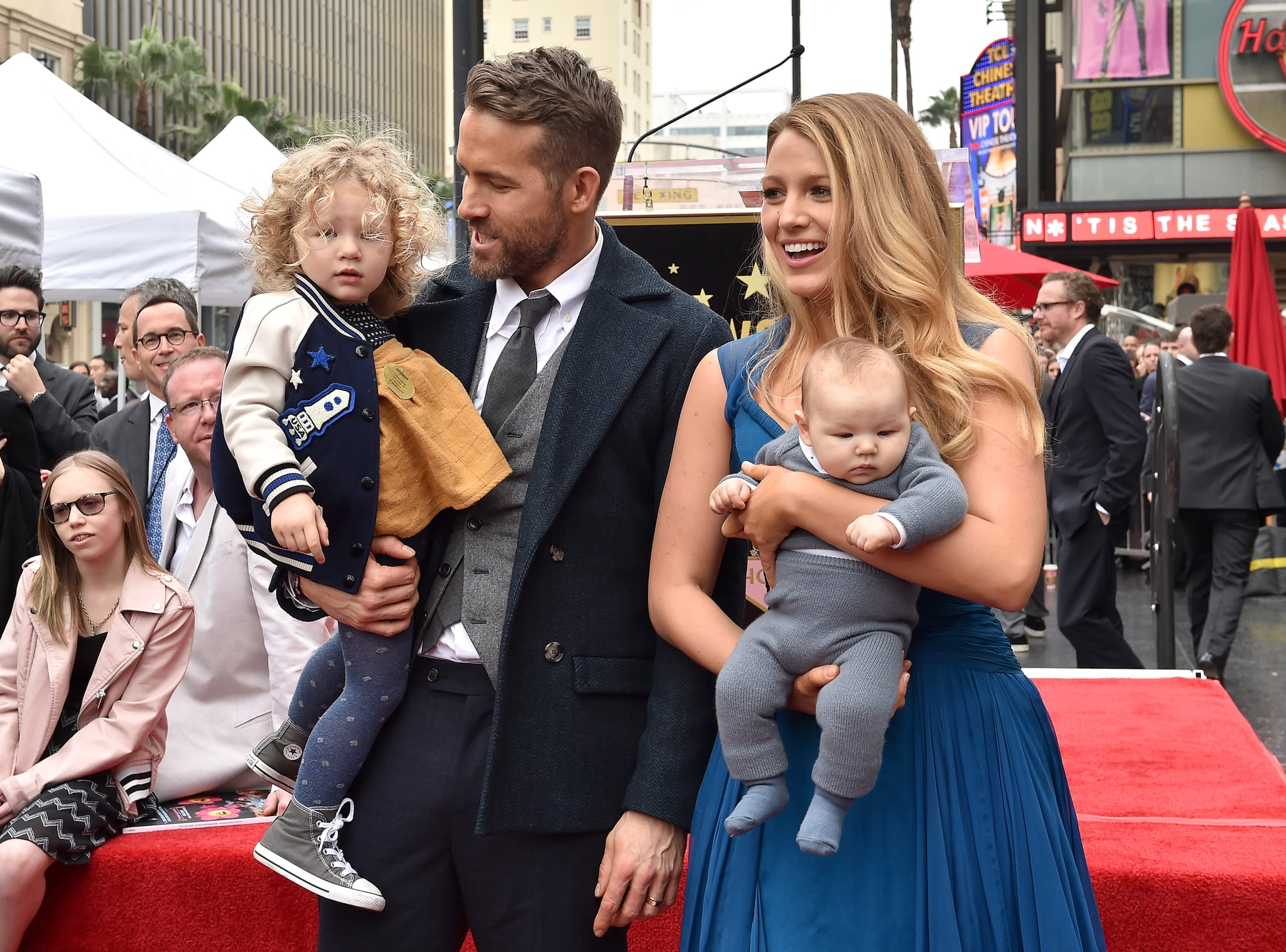 HOLLYWOOD, CA - DECEMBER 15:  Actors Ryan Reynolds and Blake Lively with daughters James Reynolds and Ines Reynolds attend the ceremony honouring Ryan Reynolds with a Star on the Hollywood Walk of Fame on December 15, 2016 in Hollywood, California.  (Photo by Axelle/Bauer-Griffin/FilmMagic)