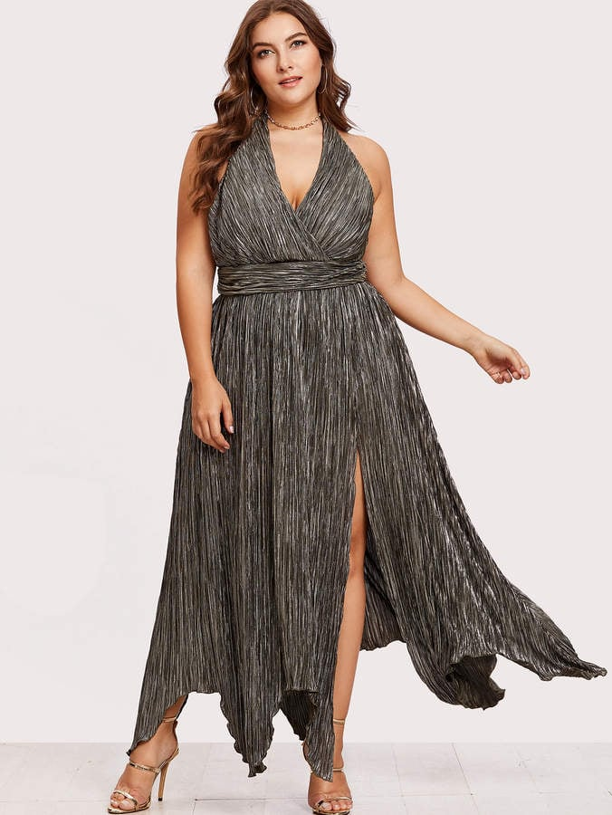 Shein High Slit Hanky Hem Metallic Halter Dress