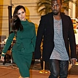 Kim Kardashian and Kanye West held hands on their date night.