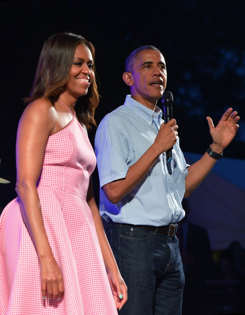 The first couple held an Independence Day celebration for military members and their families on the White House lawn in 2015.