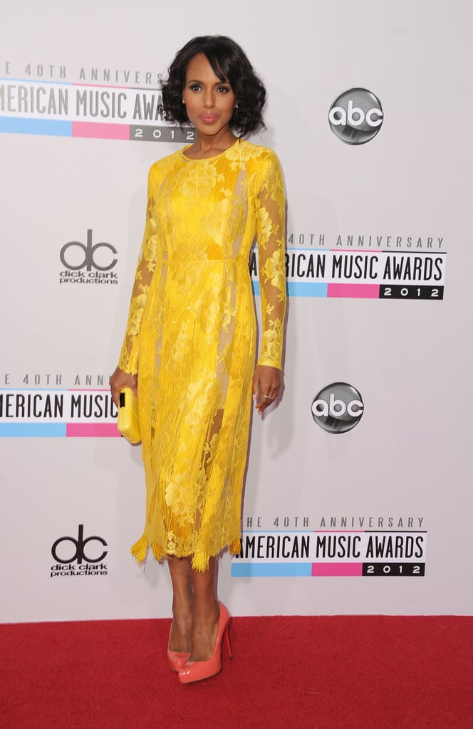 Kerry Washington looked gorgeous on the red carpet at this evening's American Music Awards in LA. She wore a yellow lace dress from Stella McCartney with Sydney Evan jewels — what do you think of Kerry's look? Make sure to weigh in on all of the American Music Awards fashion and beauty polls. Kerry's on the long list of presenters for tonight's big show. She was quite excited about being able to attend during a break from shooting Scandal. Accompanying Kerry on the red carpet was her makeup artist and friend Carola Gonzalez.