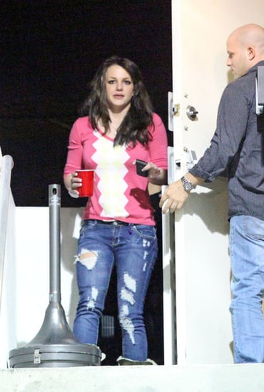 Britney Spears takes a smoking break while working at the studio