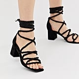 Missguided Tie-Leg Heeled Sandals