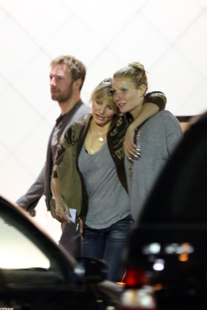 Cameron Diaz put her arm around Gwyneth Paltrow after a dinner date at Sugarfish in Brentwood, CA, last night. Gwyneth's husband, Chris Martin, also joined them for the meal. It was the latest meetup for Cameron and Gwyneth, who got together to celebrate Gwyneth's 40th birthday in NYC earlier this month and also paired up to record a funny rap for their pal Chelsea Handler. Gwyneth, who is featured in the new trailer for Iron Man 3, was without her best girlfriend last week, though, when she attended the Golden Heart Gala in the Big Apple. Cameron, meanwhile, has been spotted shopping in her time off from filming The Counselor overseas.