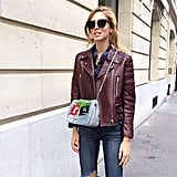 Chiara Ferragni's oxblood moto jacket is a deeper shade of red, but a lot less boring than the jet-black alternative.