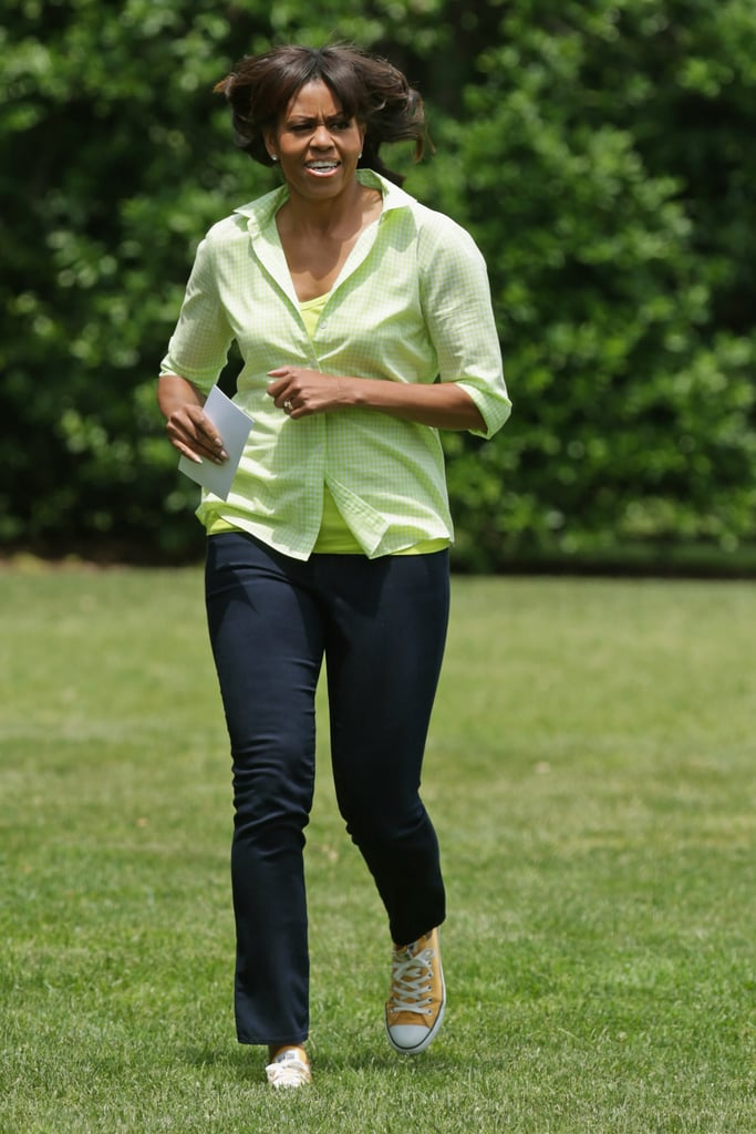 Michelle also owns a pair of low-top Converse in this marigold shade, which she showed off with a chartreuse top and jeans in May 2013.