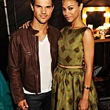 Zoe Saldana and Taylor Lautner shared a hug at the 2012 Teen Choice Awards.