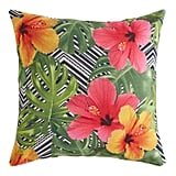 Tropical Flowers on Chevron Square Pillow