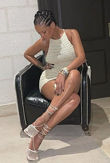 Rihanna Wears Bottega Veneta Crochet Pumps