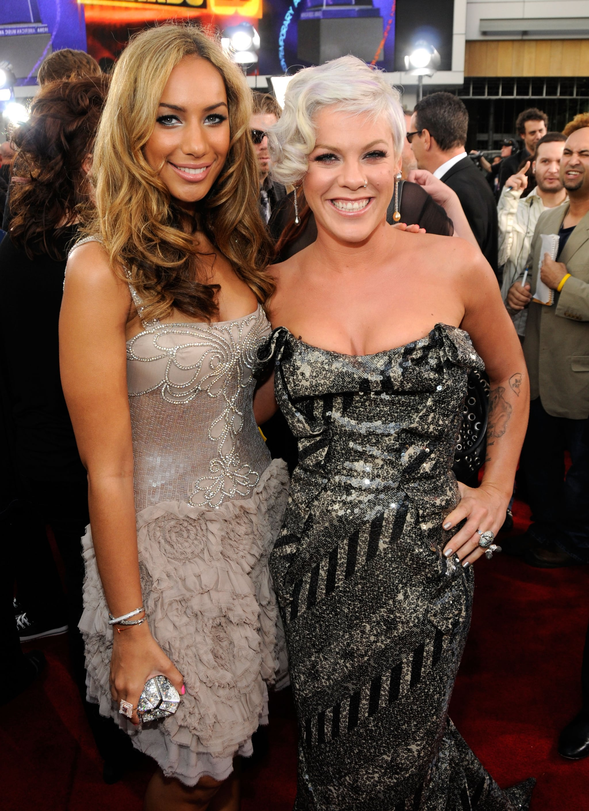 Leona Lewis and Pink hit the red carpet together in 2008.