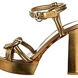 Gucci Metallic Platform Sandals With Tags