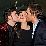 Peter Facinelli and Jackson Rathbone each gave a kiss to Elizabeth Reaser at the Breaking Dawn afterparty.
