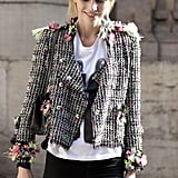 A flash of neon and floral made this little jacket a statement piece.