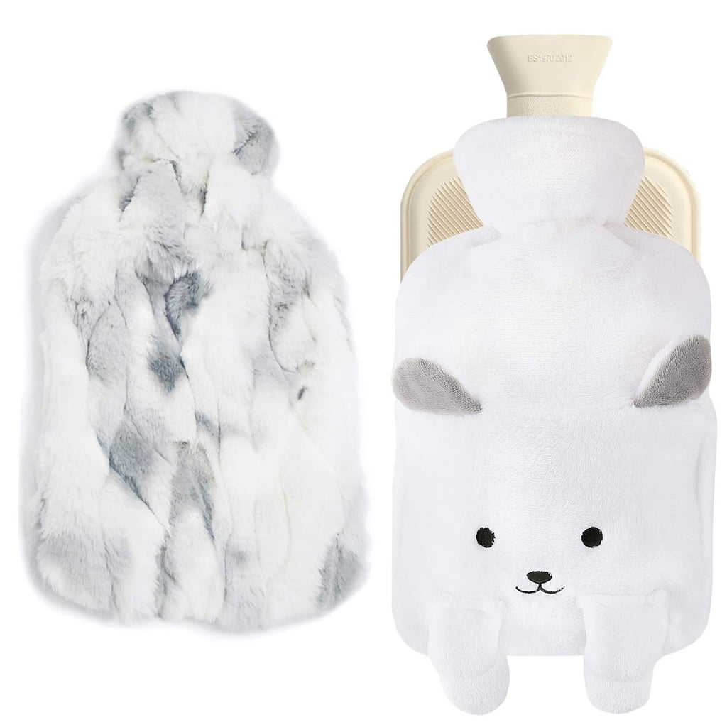 MAILIN Hot-Water Bottle With Two Fleece and Fuzzy Covers in White  ($16)