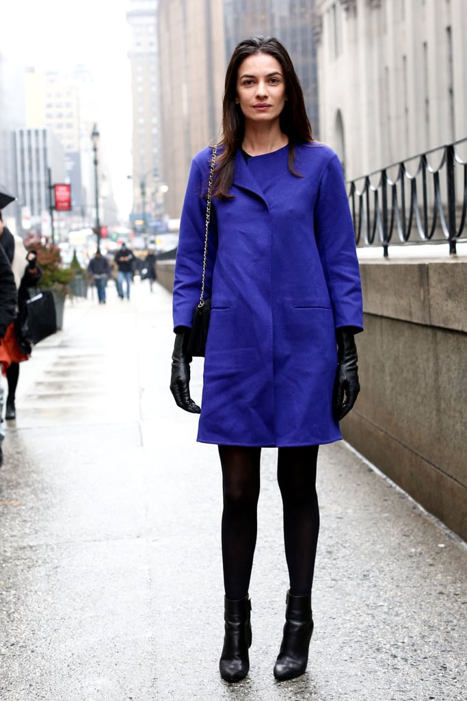 Her cobalt hues popped against black tights, booties, and gloves.