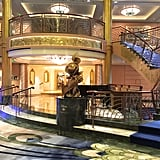"11. Each cruise ship lobby features a different famous Disney character. Minnie Mouse is posted up on the Disney Fantasy, while Donald Duck or ""Admiral Donald"" poses front and center on the Disney Dream.  12. Sorcerer Mickey stands at the bow of Disney Magic. Steamboat Willie is at the bow of the Disney Wonder."
