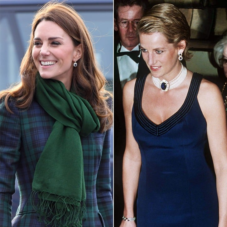 Kate Middleton Wearing Princess Diana's Sapphire Earrings
