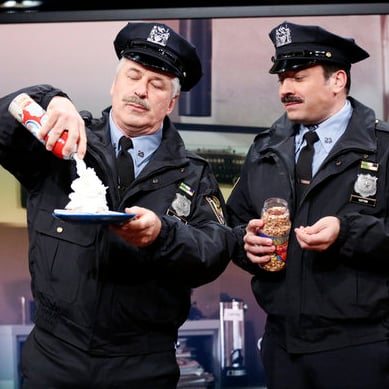 Alec Baldwin and Jimmy Fallon in Spitting Police Sketch