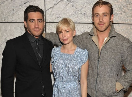 Jake Gyllenhaal, Michelle Williams, and Ryan Gosling at a Blue Valentine Screening