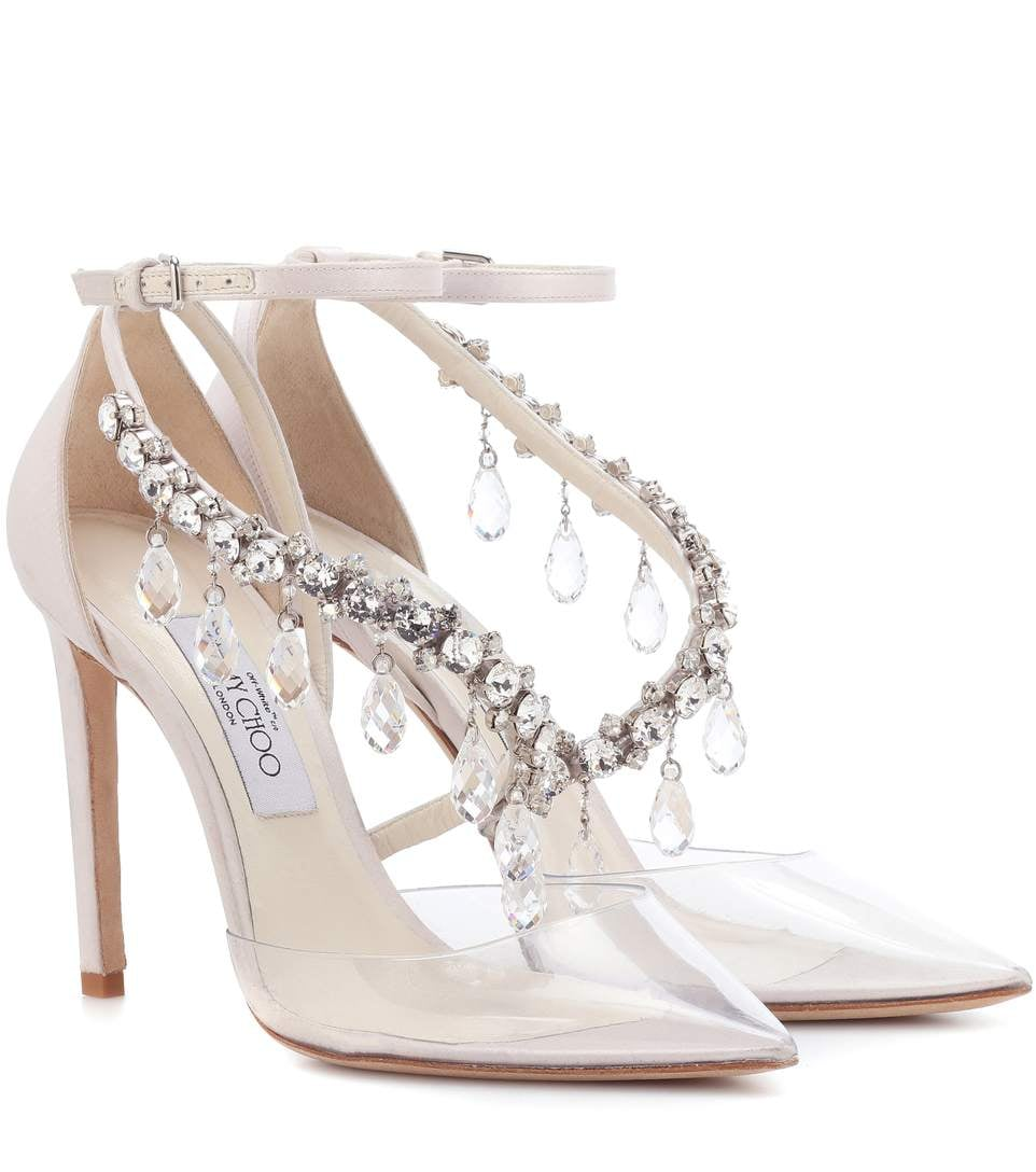 59a46708c44b2 Jimmy Choo x Off-White Victoria 100 Embellished Satin Pumps | We Can ...