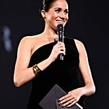 December: Meghan makes a surprise appearance on stage at the Fashion Awards to honor her wedding gown designer, Clare Waight Kel