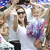 Jennifer Garner and Ben Affleck took their girls to a Fourth of July parade in Pacific Palisades, CA.