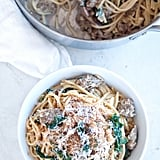 Creamy Kale and Italian Sausage Spaghetti