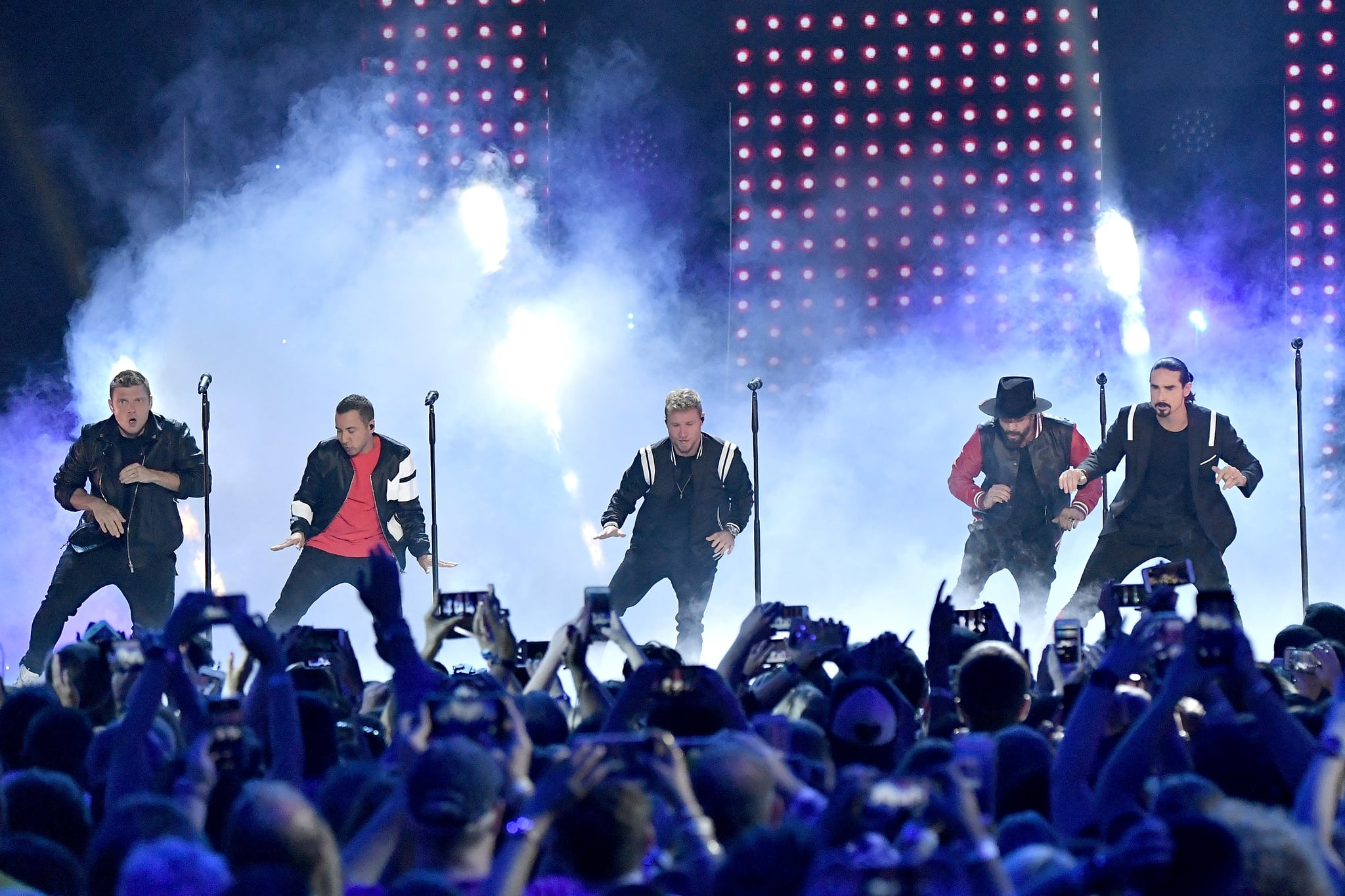 NASHVILLE, TN - JUNE 06:  (L-R) Nick Carter, Howie Dorough, Brian Littrell, AJ McLean and Kevin Richardson of Backstreet Boys perform onstage at the 2018 CMT Music Awards at Bridgestone Arena on June 6, 2018 in Nashville, Tennessee.  (Photo by Mike Coppola/Getty Images for CMT)