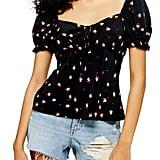 Topshop Gigi Ditsy Floral Print Tie-Front Blouse