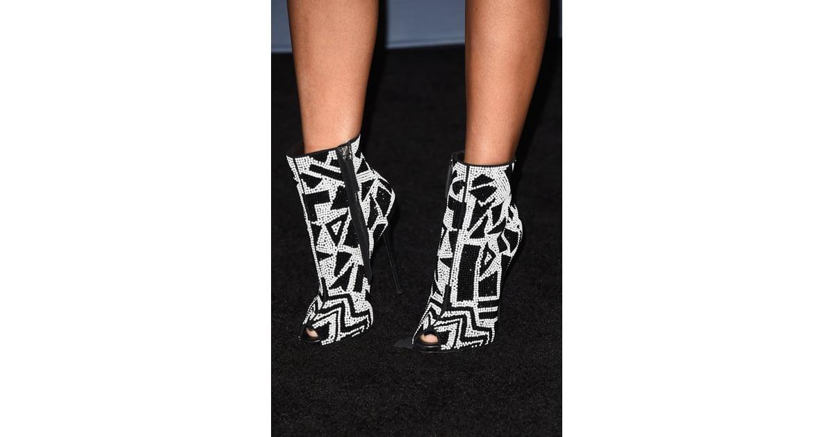 nicki minajs blackandwhite geometric peeptoe booties