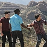 Max Greenfield as Schmidt, Lamorne Morris as Winston, and Jake Johnson as Nick on New Girl. Photo courtesy of Fox
