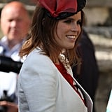For the wedding of her friends Rupert Finch and Natasha Rufus, the princess wore a black hat with red tulle.