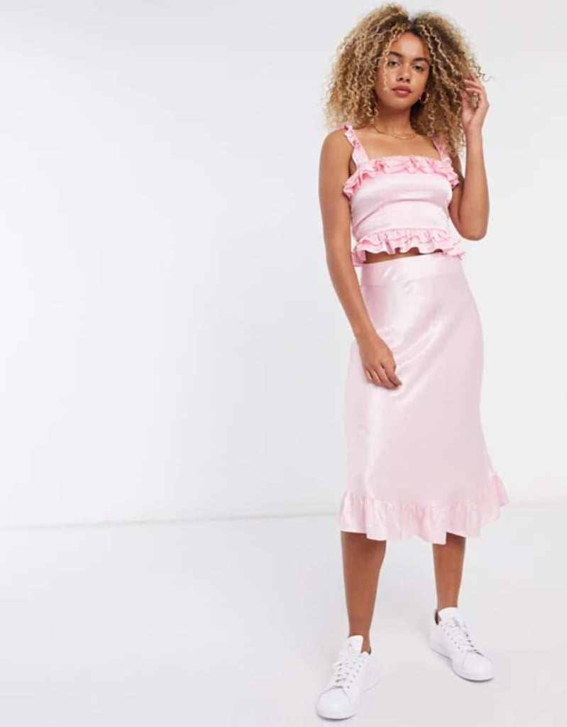 & Other Stories Satin Ruffle Midi Skirt in Pink