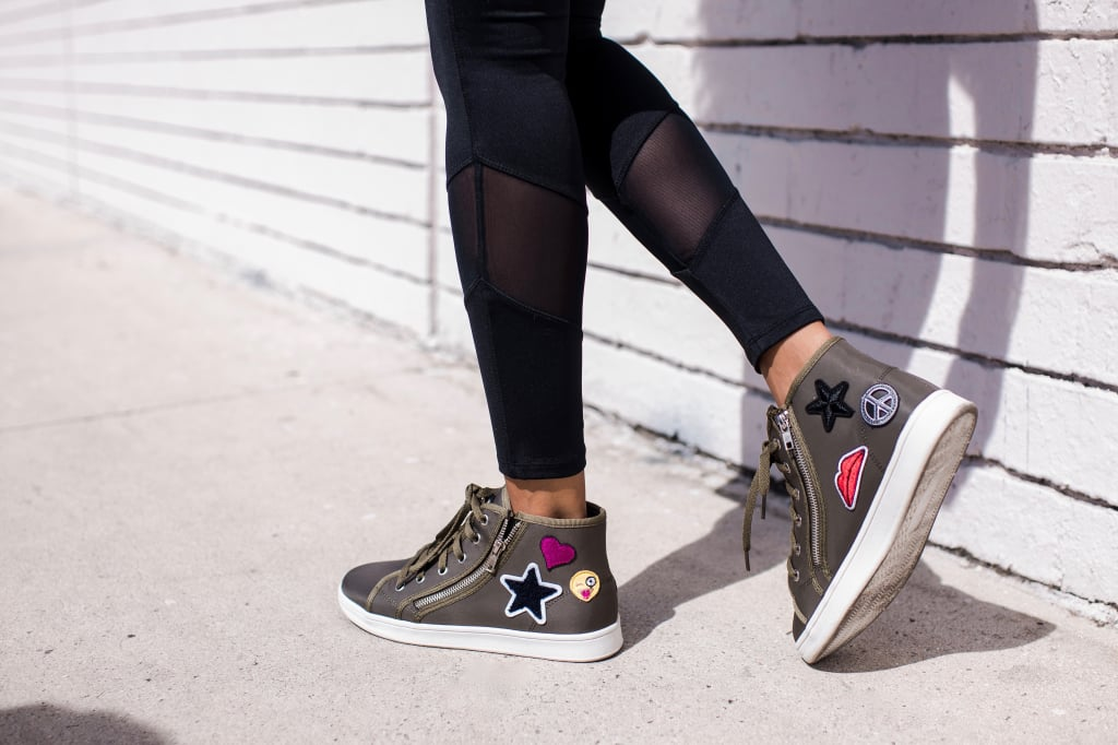Then, she finished off the ensemble with patch-emblazoned high-tops in a fresh military shade.    !function(doc,s,id){ var e, p, cb; if(!doc.getElementById(id)) { e = doc.createElement(s); e.id = id; cb = new Date().getTime().toString(); p = '//shopsensewidget.shopstyle.com/widget-script.js?cb=1490386461932?cb=' + cb; e.src = p; doc.body.appendChild(e); } if(typeof window.ss_shopsense === 'object'){ if(doc.readyState === 'complete'){ window.ss_shopsense.init(); } } }(document, 'script', 'shopsensewidget-script');