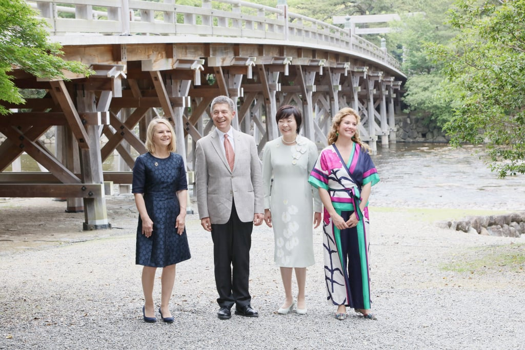 Sophie Gégoire-Trudeau, the wife of Canadian Prime Minister Justin Trudeau, flew the flag for Canadian fashion Thursday when she attended an engagement in Japan wearing a Toronto-born designer. On a visit to the Ise Jingu Shrine in Ise, Japan, Sophie wore a kimono-inspired jumpsuit in bright green, blue, and fuchsia created by Tanya Taylor. Tanya, who runs her business out of New York City, studied at Canada's McGill University and has become known for her bright and patterned designs.  Sophie is clearly a fan of Tanya's work, as is First Lady Michelle Obama. Since stepping onto the international stage, Sophie has made a point to showcase Canadian designers of clothing, bags, hats, and footwear. The practice of promoting domestic fashion industries through wardrobe choices is a tactic used by Michelle and even Kate Middleton, Britain's Duchess of Cambridge, proving Sophie's style is as diplomatic as it is chic.