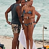 Doutzen Kroes spent time with her husband Sunnery James and friends at the beach in Miami in August 2012.