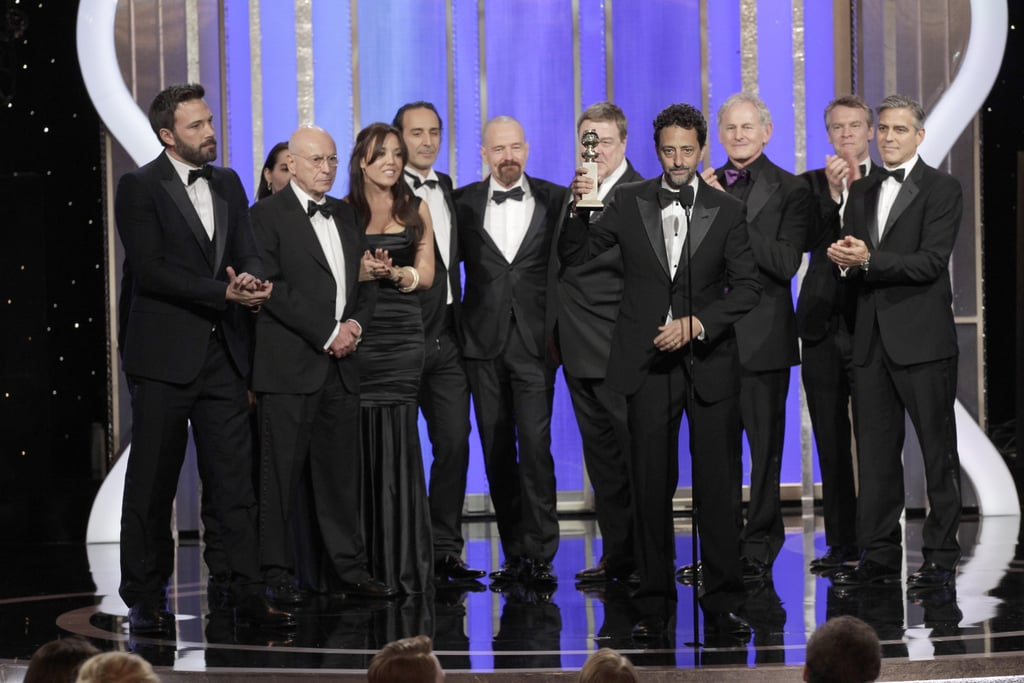The producers and cast of Argo joked around while accepting their award for best picture, drama.