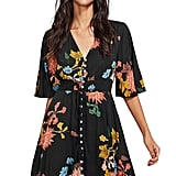 Milumia Boho Button Up Split Floral Party Dress