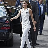 Queen Letizia Gold Block Heels July 2017