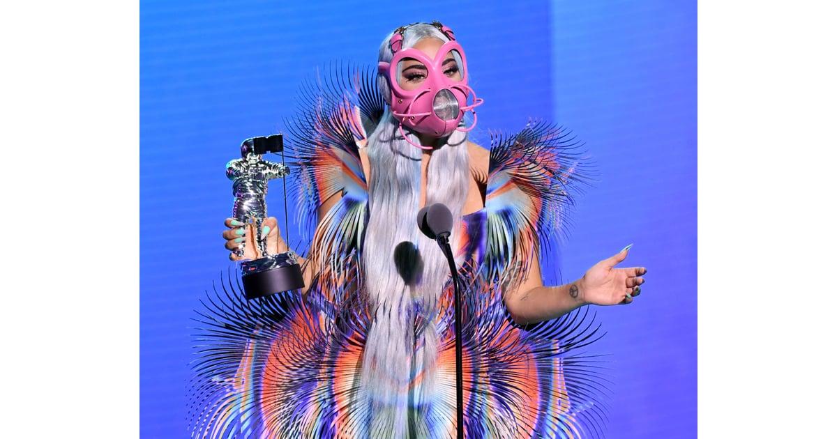 Lady Gaga's Pink Muzzle Mask at the 2020 VMAs | Lady Gaga ...