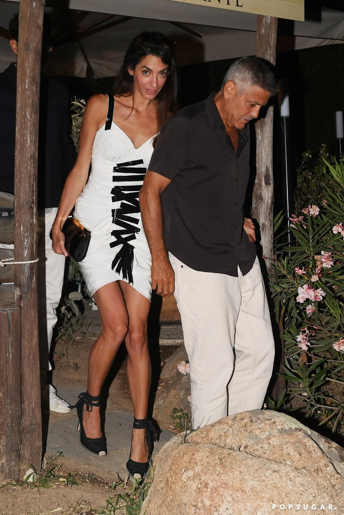 Amal Clooney Black Lace-Up Heels Italy 2018