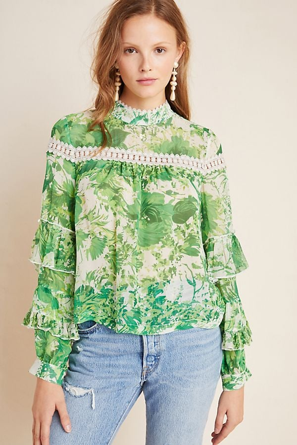 Angelina Ruffle-Sleeved Silk Peasant Blouse