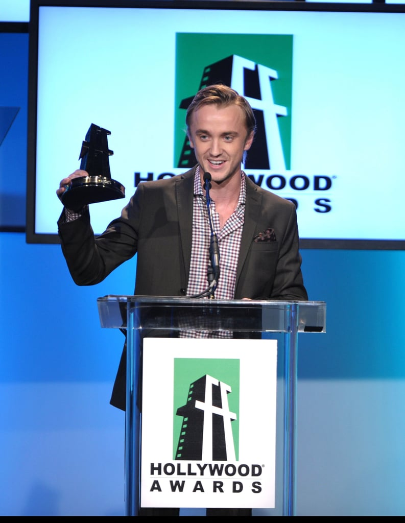 Tom Felton accepted the Hollywood Movie award in LA.