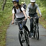 The family rode bikes during their trip to Martha's Vineyard in August 2015.