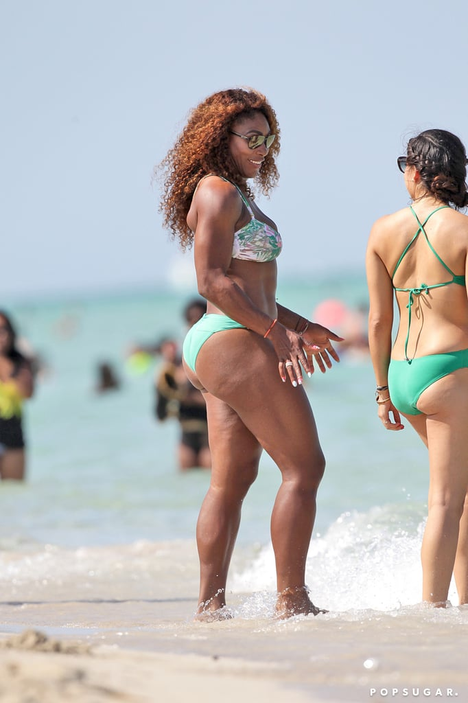 Serena Williams chatted with her friends on the beach.